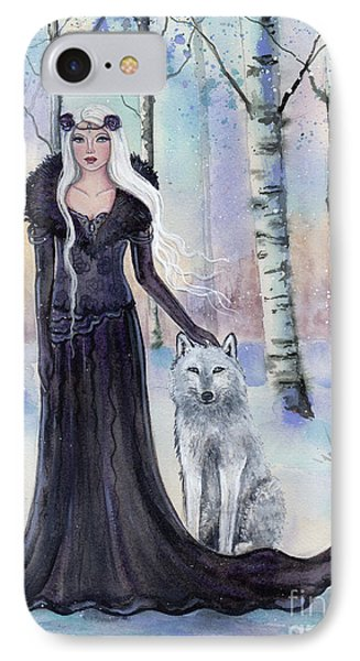 Eindride Nordi Goddess With Wolf IPhone Case