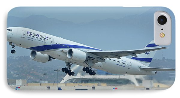 IPhone Case featuring the photograph El Al Boeing 777-258er 4x-ece Los Angeles International Airport May 3 2016 by Brian Lockett