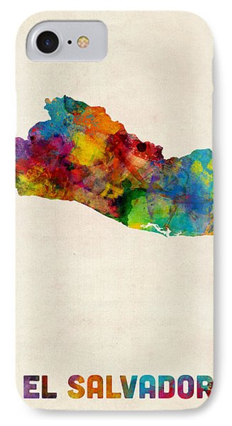 El Salvador Watercolor Map IPhone Case by Michael Tompsett
