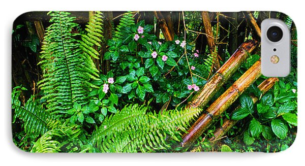 El Yunque National Forest Ferns Impatiens Bamboo Mirror Image Phone Case by Thomas R Fletcher