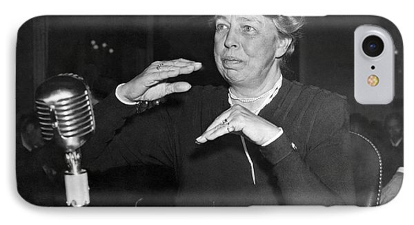Eleanor Roosevelt At Hearing IPhone Case by Underwood Archives