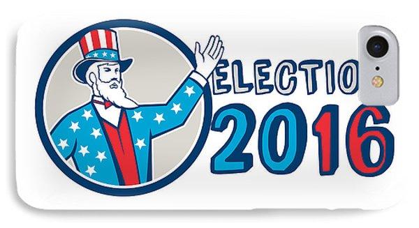 Election 2016 Uncle Sam Hand Up Circle Retro IPhone Case by Aloysius Patrimonio