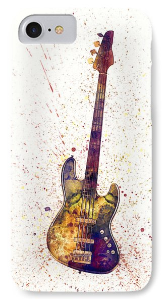 Electric Bass Guitar Abstract Watercolor IPhone Case by Michael Tompsett