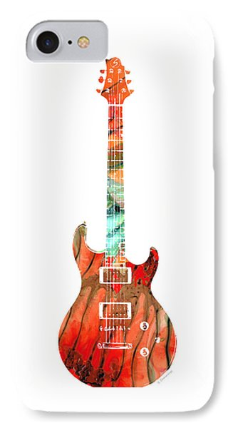 Electric Guitar 2 - Buy Colorful Abstract Musical Instrument IPhone Case by Sharon Cummings