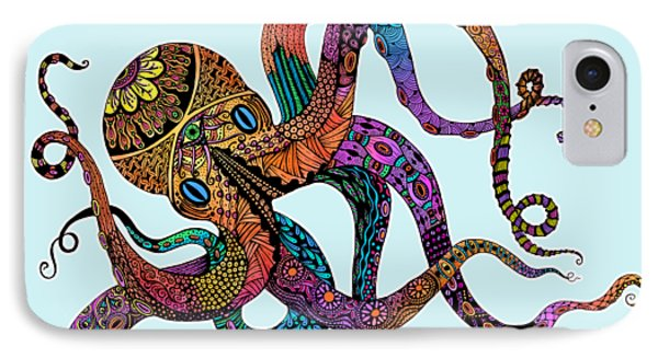 Electric Octopus - Customizable Background IPhone Case by Tammy Wetzel