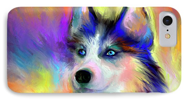 Electric Siberian Husky Dog Painting IPhone Case by Svetlana Novikova