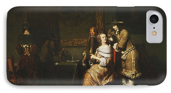 Elegant Company Playing Cards In An Interior IPhone Case by Gerbrandt van den Eeckhout