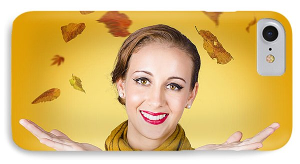 Elegant Female Model Catching Autumn Leaves IPhone Case by Jorgo Photography - Wall Art Gallery