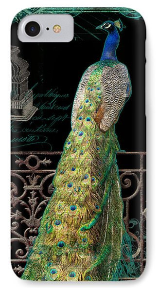 Elegant Peacock Iron Fence W Vintage Scrolls 4 IPhone 7 Case by Audrey Jeanne Roberts