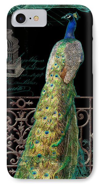 Elegant Peacock Iron Fence W Vintage Scrolls 4 IPhone Case by Audrey Jeanne Roberts