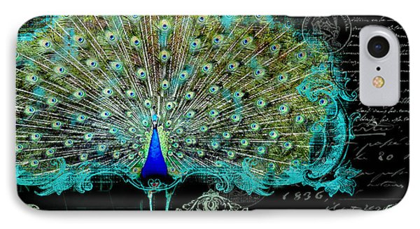 Elegant Peacock W Vintage Scrolls 3 IPhone 7 Case by Audrey Jeanne Roberts