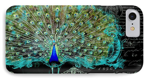 Elegant Peacock W Vintage Scrolls 3 IPhone Case by Audrey Jeanne Roberts