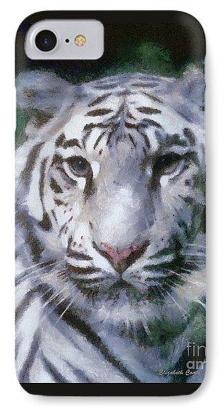 Elegant White Tiger IPhone Case by Elizabeth Coats