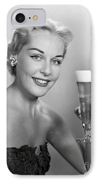 Elegant Woman With Beer, C.1950s IPhone Case by H. Armstrong Roberts/ClassicStock