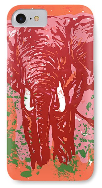 Elehpant Pop Art Etching Poster  IPhone Case by Kim Wang