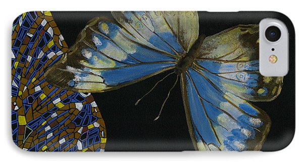 IPhone Case featuring the painting Elena Yakubovich - Butterfly 2x2 Top Right Corner by Elena Yakubovich