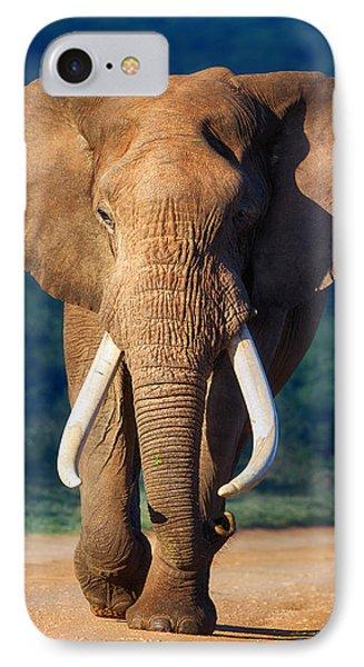 Bull iPhone 7 Case - Elephant Approaching by Johan Swanepoel