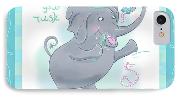 Elephant Bath Time Brush Your Tusk IPhone Case by Shari Warren