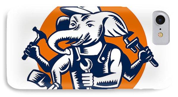 Elephant Builder Plumber Mechanic Painter Circle Retro IPhone Case