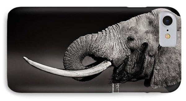 Bull iPhone 7 Case - Elephant Bull Drinking Water - Duetone by Johan Swanepoel
