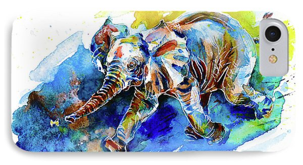 IPhone Case featuring the painting Elephant Calf Playing With Butterfly by Zaira Dzhaubaeva