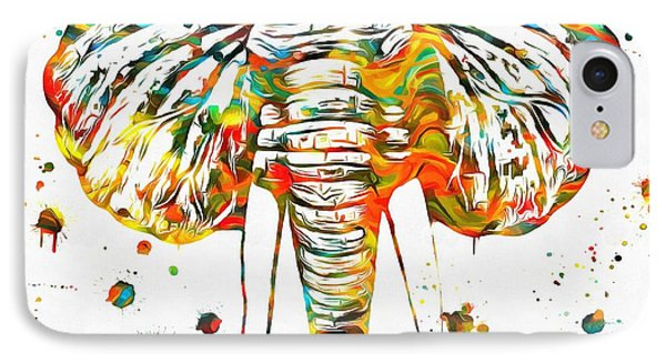 Elephant Head Paint Splatter IPhone Case by Dan Sproul