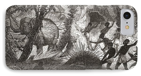 Elephant Hunting In Africa IPhone Case by Vintage Design Pics