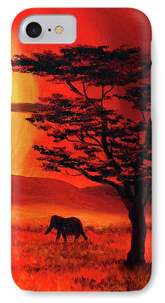 Elephant In A Bright Sunset IPhone Case