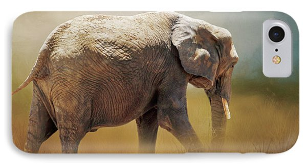 IPhone Case featuring the photograph Elephant In The Mist by David and Carol Kelly