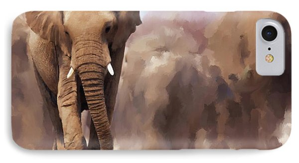 Elephant Painting IPhone Case by Michael Greenaway