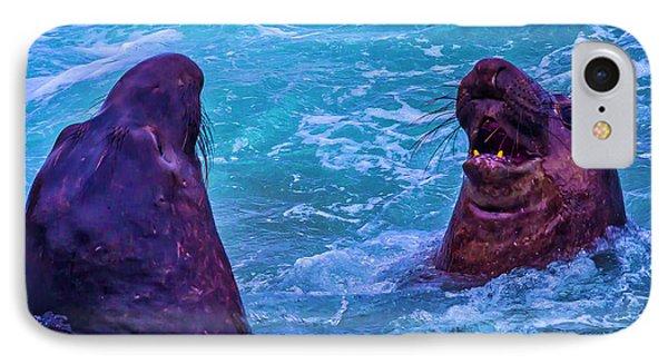 Elephant Seals Fighting In Ocean Surf IPhone Case
