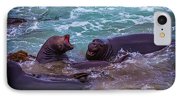 Elephant Seals Fighting In The Surf IPhone Case