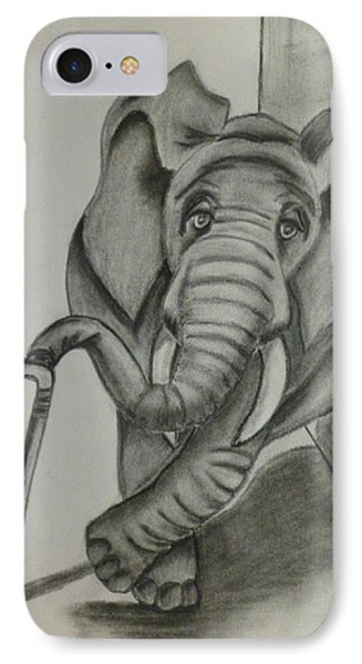 IPhone Case featuring the drawing Elephant Still Waiting by Kelly Mills