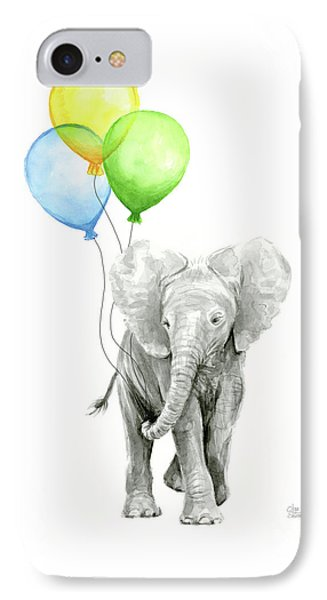 Elephant Watercolor Baby Animal Nursery Art IPhone Case