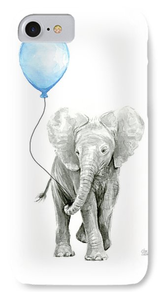 Elephant Watercolor Blue Nursery Art IPhone Case by Olga Shvartsur