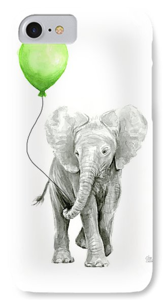 Elephant Watercolor Green Balloon Kids Room Art  IPhone Case