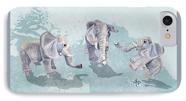 Elephants In Blue IPhone Case by Angeles M Pomata