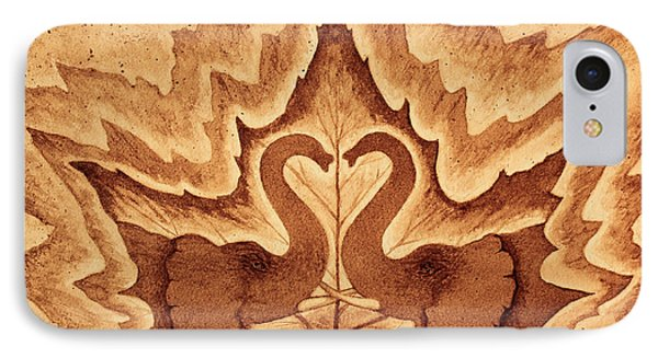 Elephants Love Original Coffee Painting IPhone Case by Georgeta Blanaru
