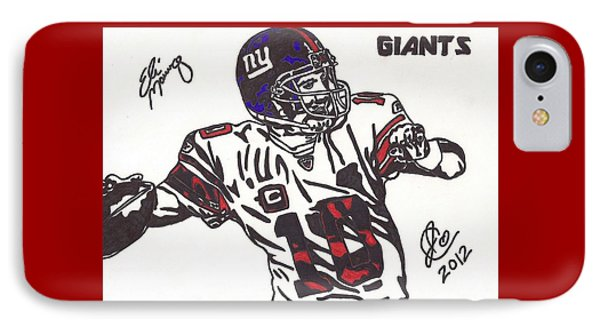 IPhone Case featuring the drawing Eli Manning by Jeremiah Colley