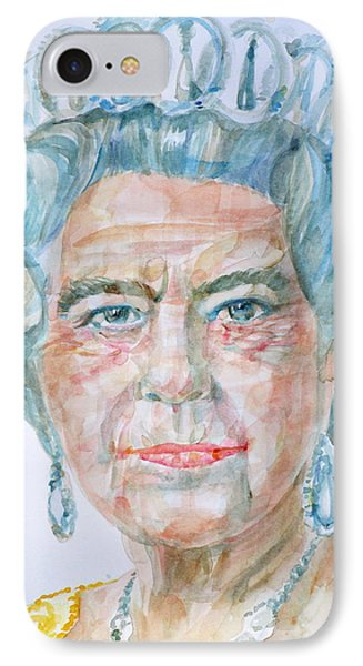 IPhone Case featuring the painting Elizabeth II - Watercolor Portrait.2 by Fabrizio Cassetta