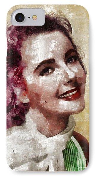 Elizabeth Taylor, Vintage Hollywood Legend By Mary Bassett IPhone 7 Case by Mary Bassett