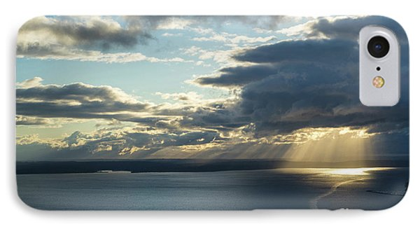 Elliot Bay Clouds And Sunrays IPhone Case by Mike Reid