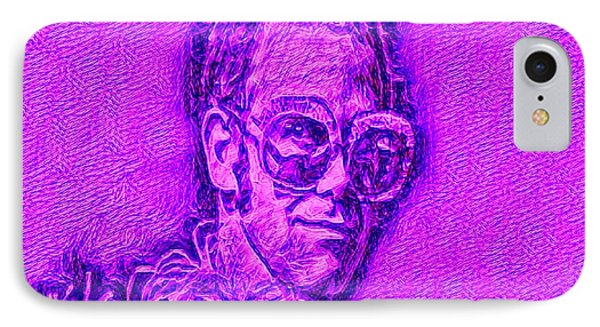 Elton In Purple IPhone Case by Pd
