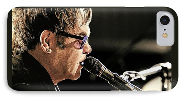 Elton John At The Mic IPhone Case by Elaine Plesser