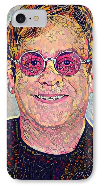 Elton John Triangles Portrait IPhone Case by Yury Malkov