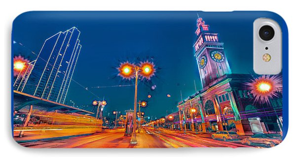 IPhone Case featuring the photograph Embarcadero Lights by Steve Siri