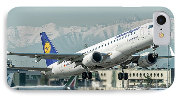 Embraer E190 Lufthansa Regional IPhone Case by Roberto Chiartano