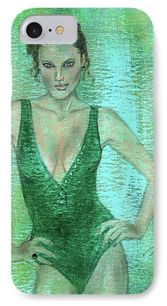 IPhone Case featuring the painting Emerald Greem by P J Lewis