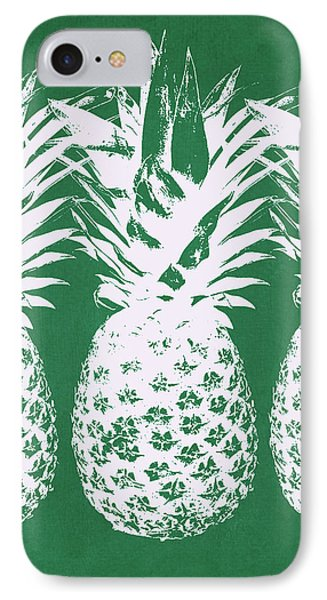 IPhone Case featuring the mixed media Emerald Pineapples- Art By Linda Woods by Linda Woods