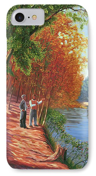 Emerson And Thoreau At Walden Pond IPhone Case by Steve Simon
